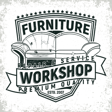Vintage furniture workshop icon designs, workshop grange print stamps, furniture repair shop creative typography emblems.