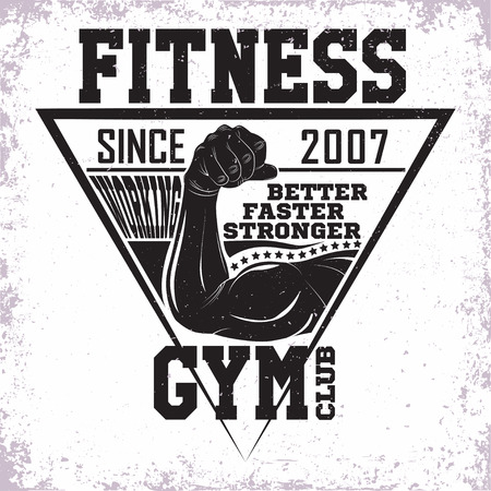 Vintage t-shirt graphic design,  grange print stamp, fitness typography emblem,  gym sports logo Creative design, Vector Фото со стока - 100991444