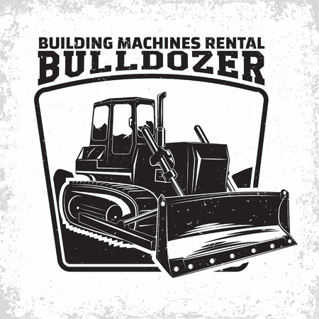 Excavation work logo design, emblem of bulldozer or building machine rental organisation print stamps, constructing equipment, Heavy bulldozer machine typographyv emblem, Vector Çizim