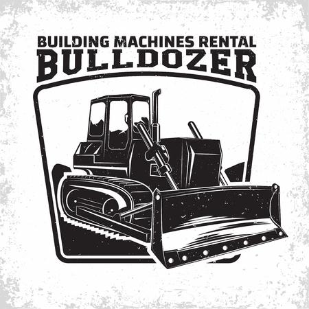 Opgravingswerk logo-ontwerp, embleem van bulldozer of bouwmachine verhuurorganisatie print stempels, constructie van apparatuur, zware bulldozer machine typographyv embleem, Vector Logo