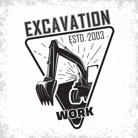 Création de logo de travaux d'excavation, emblème de l'excavatrice ou de l'organisation de location de machines de construction imprimer des timbres, équipement de construction, machine à pelle lourde avec emblème typographyv de pelle, vecteur