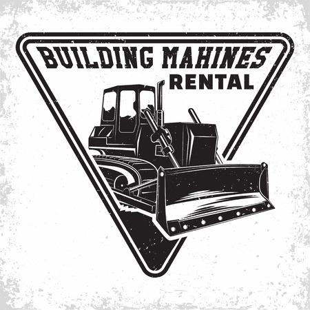 Excavation work logo design, emblem of bulldozer or building machine rental organisation print stamps, constructing equipment, Heavy bulldozer machine typographyv emblem, Vector Ilustrace
