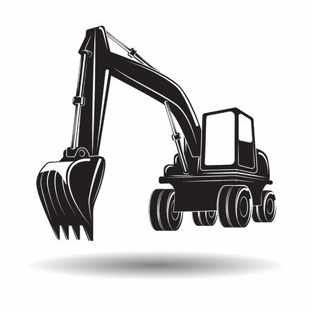 Heavy excavator machine with shovel monochrome icon, on white background, vector