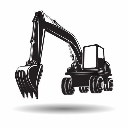 Heavy excavator machine with shovel monochrome icon, on white background, vector Standard-Bild - 100979209
