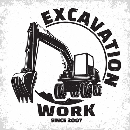 Excavation work logo design, emblem of excavator or building machine rental organisation print stamps, constructing equipment, Heavy excavator machine with shovel typographyv emblem, Vector Иллюстрация