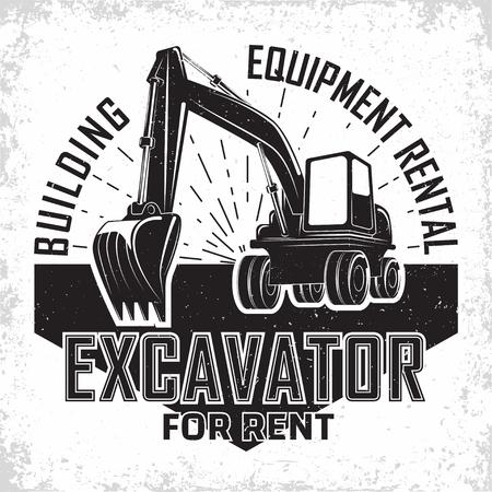 Excavation work logo design, emblem of excavator or building machine rental organisation print stamps, constructing equipment, Heavy excavator machine with shovel typographyv emblem, Vector Illustration