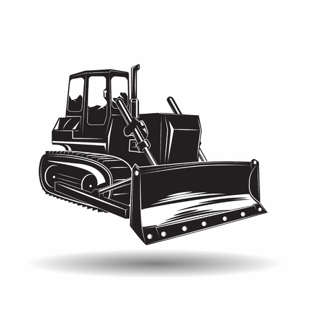 Heavy bulldozer machine monochrome icon, on white background, vector Ilustração