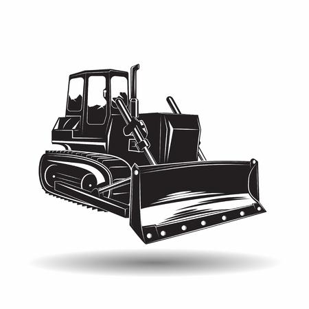 Zware bulldozer machine zwart-wit-symbool, op witte achtergrond, vector Stockfoto - 100979212