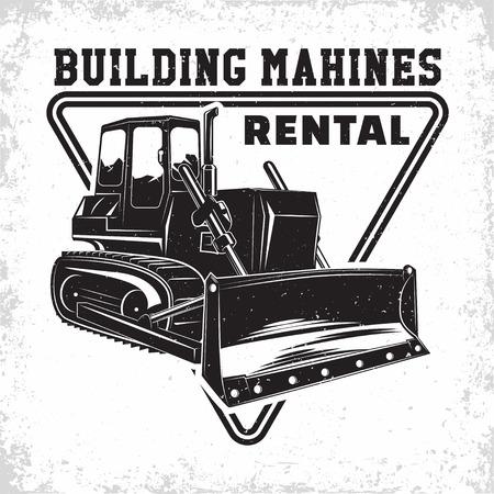 Excavation work logo design, emblem of bulldozer or building machine rental organisation print stamps, constructing equipment, Heavy bulldozer machine typographyv emblem, Vector  イラスト・ベクター素材