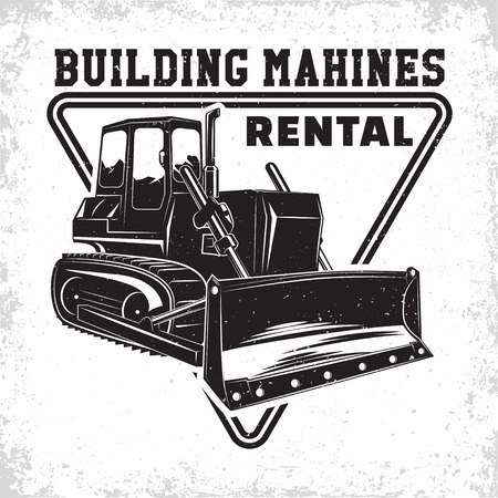Excavation work logo design, emblem of bulldozer or building machine rental organisation print stamps, constructing equipment, Heavy bulldozer machine typographyv emblem, Vector Illusztráció