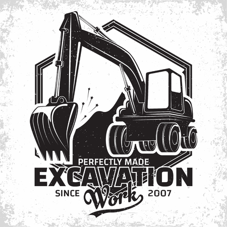 Excavation work logo design, emblem of excavator or building machine rental organisation print stamps, constructing equipment, Heavy excavator machine with shovel typographyv emblem, Vector Vettoriali