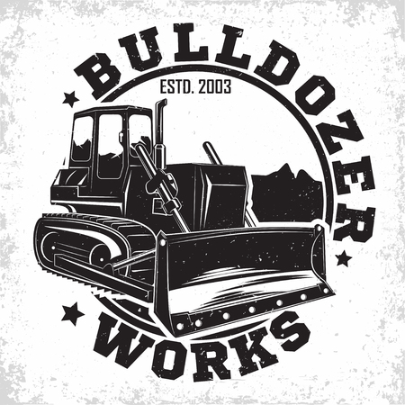 Excavation work logo design, emblem of bulldozer or building machine rental organisation print stamps, constructing equipment, Heavy bulldozer machine typographyv emblem, Vector Vectores