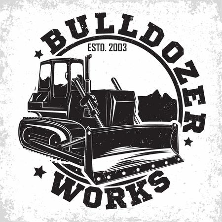 Création de logo de travaux d'excavation, emblème du bulldozer ou organisation de location de machines de construction imprimer des timbres, équipement de construction, emblème de typographyv de machine de bulldozer lourd, vecteur