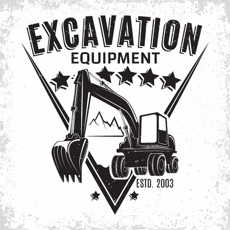 Excavation work icon design, emblem of excavator or building machine rental organisation print stamps, constructing equipment, Heavy excavator machine with shovel typography emblem.