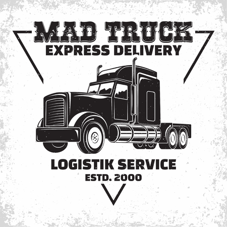 Trucking company logo design, emblem of truck rental organisation, delivery firm print stamps, Heavy truck typographyv emblem, Vector Illusztráció