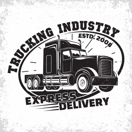 Trucking company logo design, emblem of truck rental organisation, delivery firm print stamps, Heavy truck typographyv emblem, Vector Иллюстрация