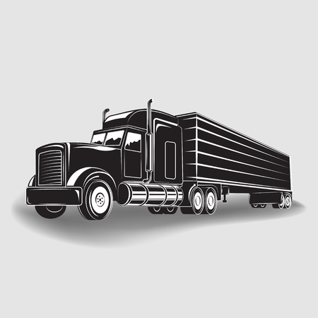 Monochrome truck icon isolated on white background with shadow, vector