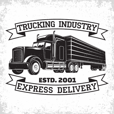 Trucking company logo design, emblem of truck rental organisation, delivery firm print stamps, Heavy truck typographyv emblem, Vector Illustration