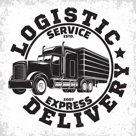 Trucking company logo design, emblem of truck rental organisation, delivery firm print stamps, Heavy truck typography emblem, Vector