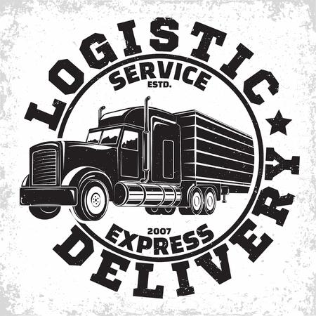 Design del logo della società di autotrasporti, emblema dell'organizzazione del noleggio di camion, timbri di stampa dell'azienda di consegna, emblema della tipografia del camion pesante, vettore Logo