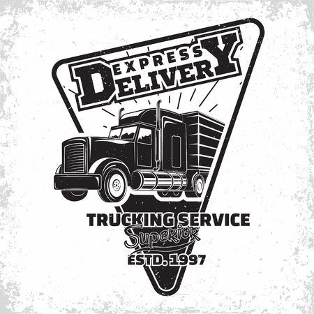 Trucking company logo design, emblem of truck rental organisation, delivery firm print stamps, Heavy truck typography emblem, Vector Banque d'images - 101069401