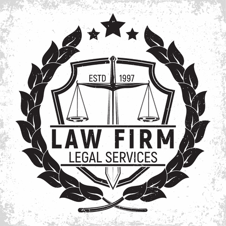 Law firm logo design, emblem of lawyer agency or notary, vintage court logo or typography emblem, Vector Banque d'images - 101683383