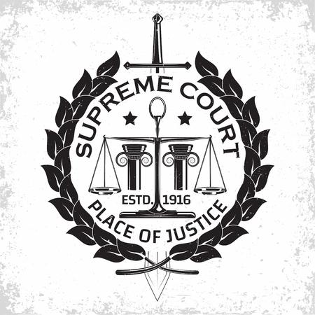 Law firm logo design, emblem of lawyer agency or notary, vintage court logo or typography emblem, Vector