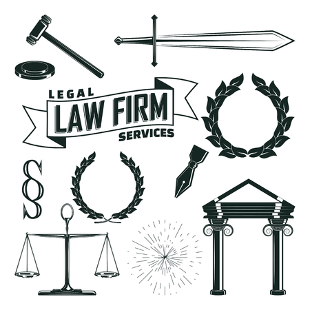 Set of monochrome elements for law firm vintage  design, Sword and pen, leyer scales and judicial hummer, Laurel wreath and paragraph sign and portico, isolated on white background, vector