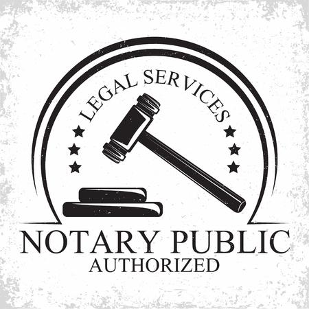 Advocatenkantoor logo ontwerp, embleem van advocatenbureau of notaris, vintage rechtbank logo of typografie embleem, Vector