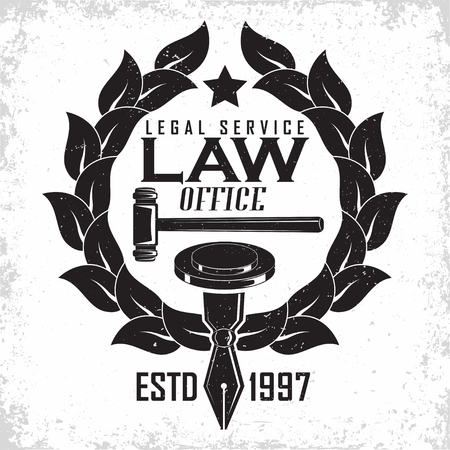Law firm logo design, emblem of lawyer agency or notary, vintage court logo or typography emblem, Vector