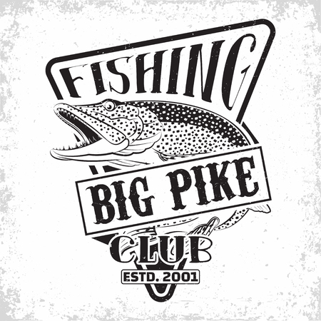 Fishing club vintage logo design, emblem of the pike fishermen, grange print stamps, fisher typography emblem, Vector Stock Illustratie
