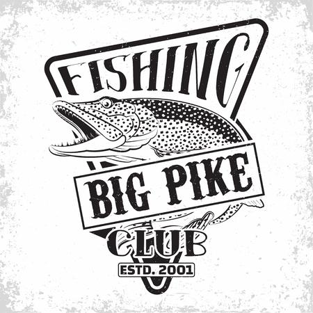 Fishing club vintage logo design, emblem of the pike fishermen, grange print stamps, fisher typography emblem, Vector Illustration