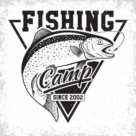 Fishing club vintage logo design, emblem of the trout fishermen, grange print stamps, fisher typography emblem, Vector