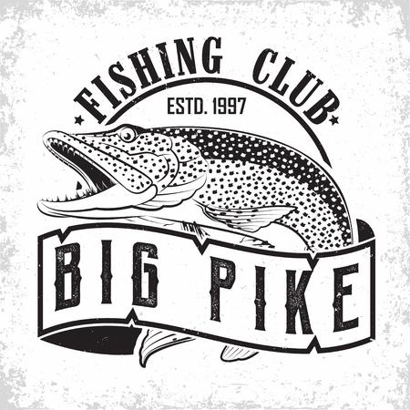 Fishing club vintage logo design, emblem of the pike fishermen, grange print stamps, fisher typography emblem, Vector Stock Illustratie