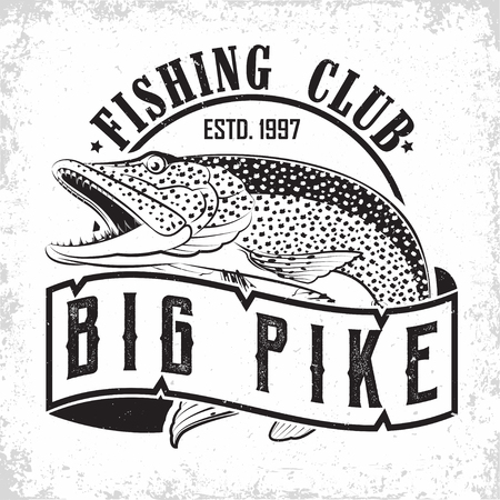 Fishing club vintage logo design, emblem of the pike fishermen, grange print stamps, fisher typography emblem, Vector Illustration