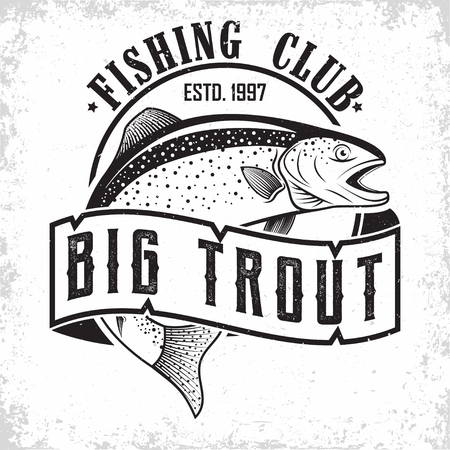 Fishing club vintage logo design, emblem of the trout fishermen, grange print stamps, fisher typography emblem, Vector Zdjęcie Seryjne - 101683395