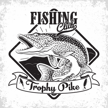 Fishing club vintage logo design, emblem of the pike fishermen, grange print stamps, fisher typography emblem, Vector  イラスト・ベクター素材