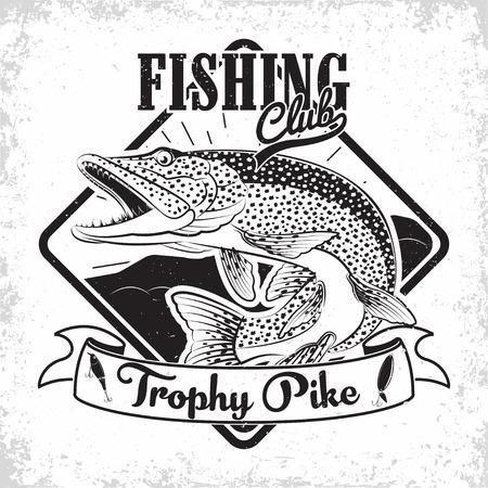 Fishing club vintage logo design, emblem of the pike fishermen, grange print stamps, fisher typography emblem, Vector Иллюстрация