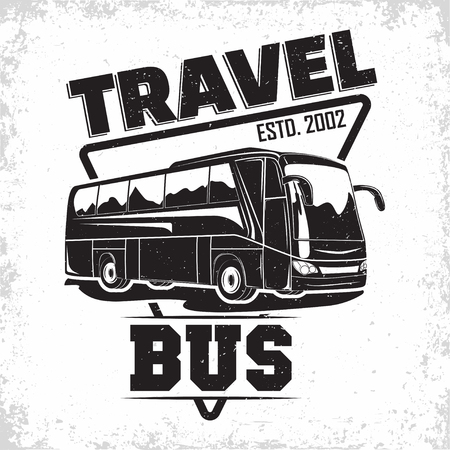 Bus travel company  design, emblem of excursion or tourist bus rental organisation, travel agency print stamps, bus typography emblem, Vector