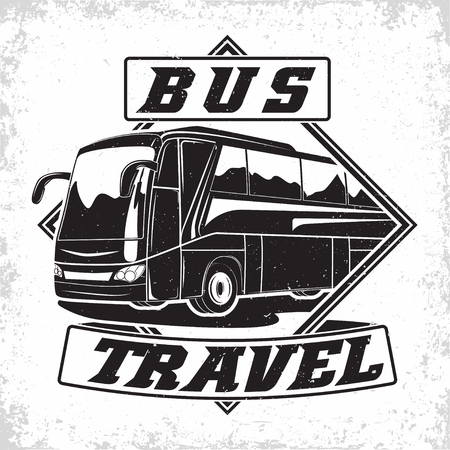 Bus travel company logo design, emblem of excursion or tourist bus rental organisation, travel agency print stamps, bus typography emblem, Vector Çizim