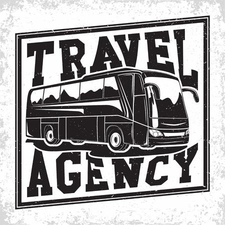 Bus travel company  design, emblem of excursion or tourist bus rental organisation, travel agency print stamps, bus typography emblem, Vector