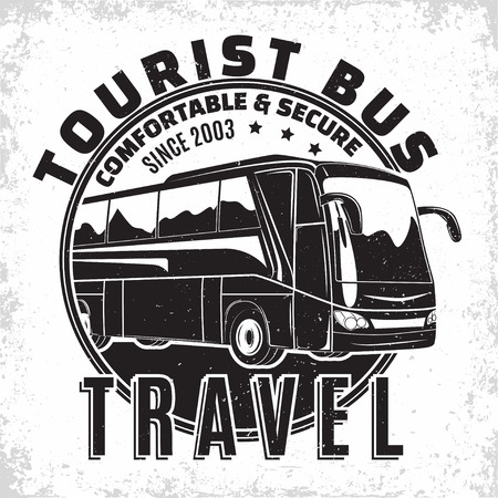 Bus travel company logo design, emblem of excursion or tourist bus rental organisation, travel agency print stamps, bus typography emblem, Vector Illusztráció