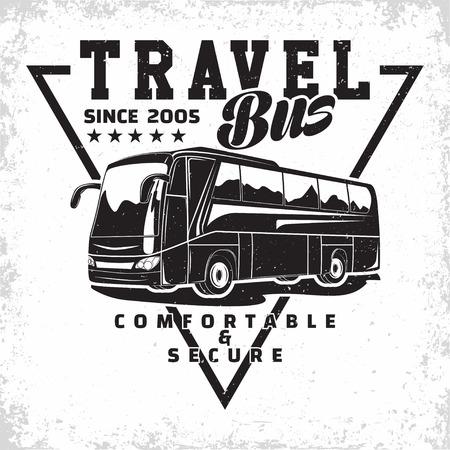 Bus travel company logo design, emblem of excursion or tourist bus rental organisation, travel agency print stamps, bus typography emblem, Vector Ilustração