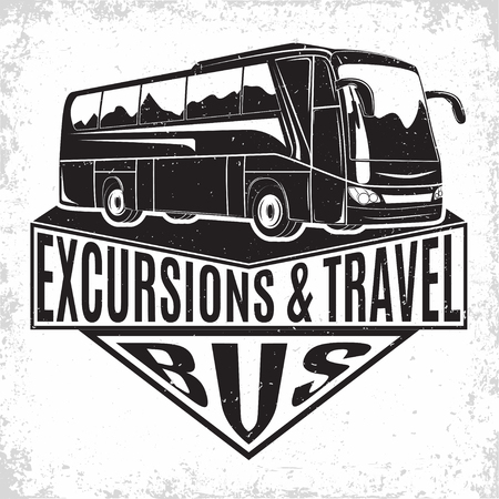 Bus travel company logo design, emblem of excursion or tourist bus rental organisation, travel agency print stamps, bus typography emblem, Vector 일러스트