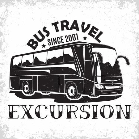 Bus travel company logo design, emblem of excursion or tourist bus rental organisation, travel agency print stamps, bus typography emblem, Vector Illustration