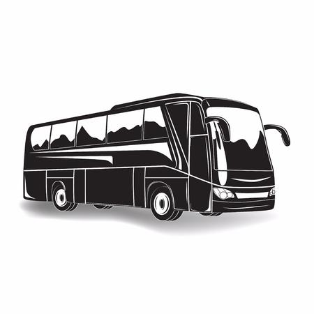 Signe monochrome de bus de voyage isolé sur fond blanc, vecteur
