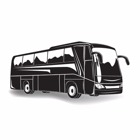Travel bus monochrome sign isolated on white background, vector