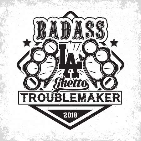 Troublemakers vintage emblem design, grunge print stamp of badass, on whie background, vector