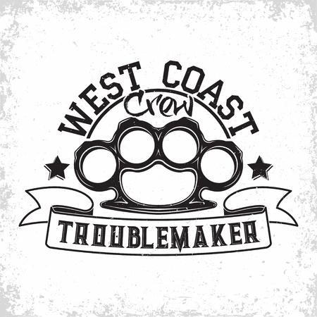 Troublemakers vintage emblem design,  grunge print stamp of badass, on whie background, vector