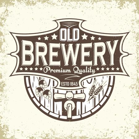 Brewery vintage logo design, craft beer emblem, grange print stamps, beerhouse typography emblem, Vector illustration